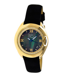 Gold-tone leather & steel watch