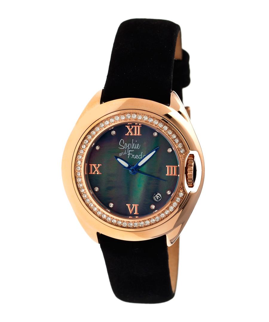Rose gold-tone & black watch Sale - sophie & freda