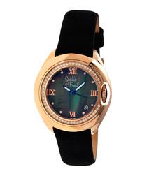 Rose gold-tone & black watch