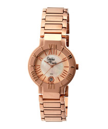Rose gold-tone steel numeral watch