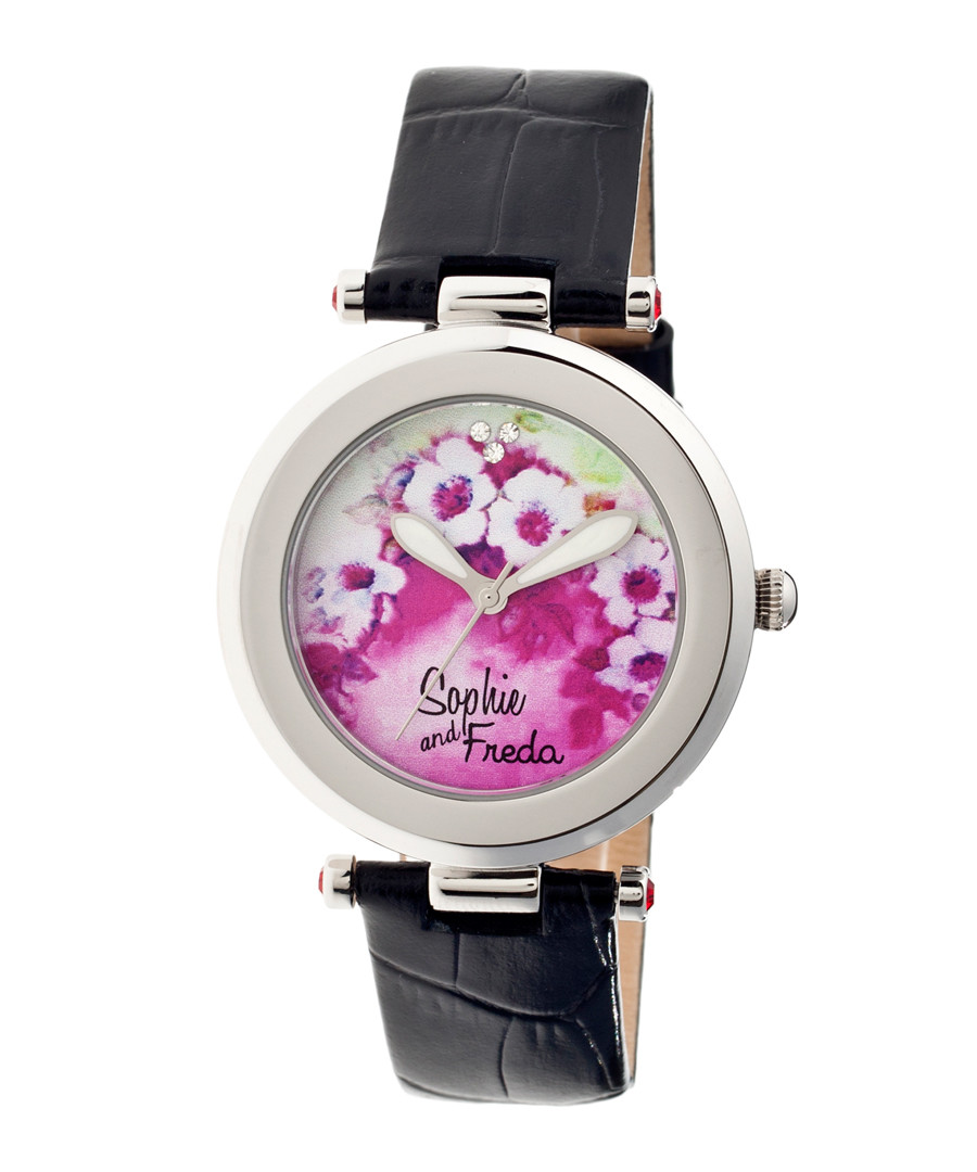 Black leather moc-croc floral watch Sale - sophie & freda