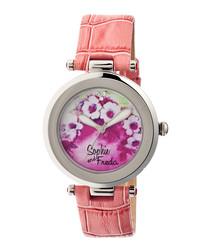 Coral leather moc-croc floral watch