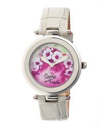 Grey leather moc-croc floral watch
