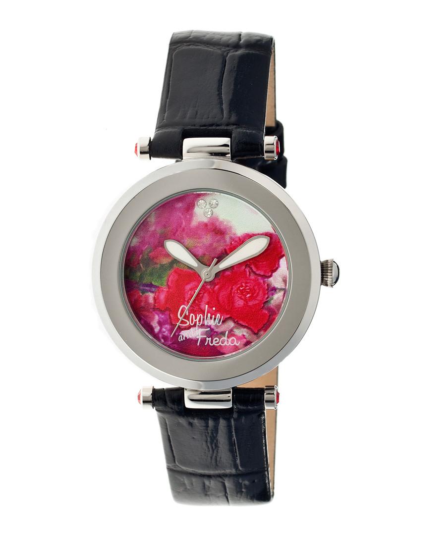 Black leather moc-croc floral watch Sale - sophie & freda