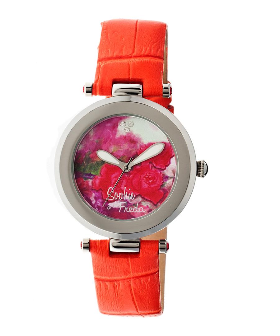 Orange leather moc-croc floral watch Sale - sophie & freda