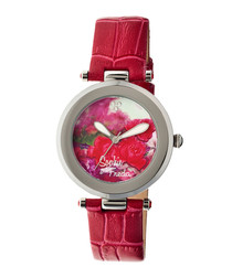 Red leather moc-croc floral watch