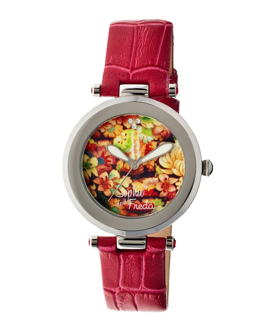 Red leather moc-croc print watch Sale - sophie & freda