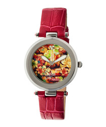 Red leather moc-croc print watch