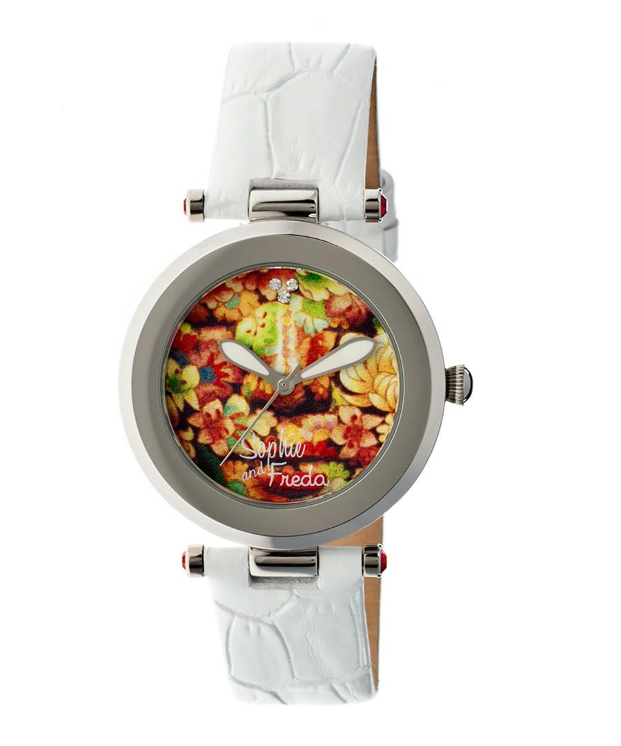 White leather moc-croc print watch Sale - sophie & freda