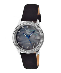 Black leather crystal watch