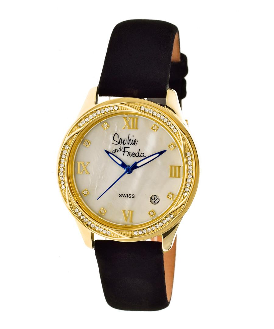 Black & gold-tone crystal watch Sale - sophie & freda