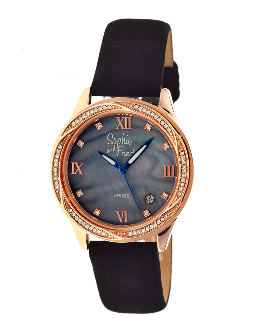 Black & rose gold-tone steel watch Sale - sophie & freda