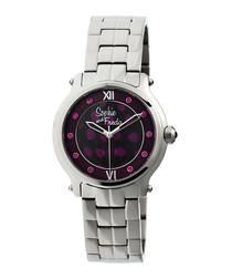 Silver-tone steel bracelet watch