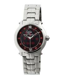 Silver-tone steel numeral watch