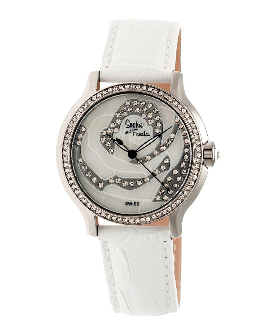 White leather moc-croc crystal watch Sale - sophie & freda