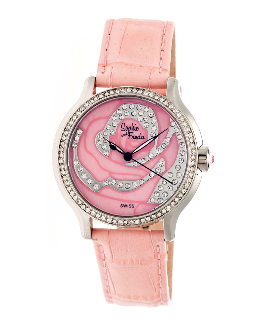 Coral leather moc-croc crystal watch Sale - sophie & freda