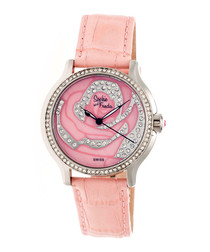 Coral leather moc-croc crystal watch