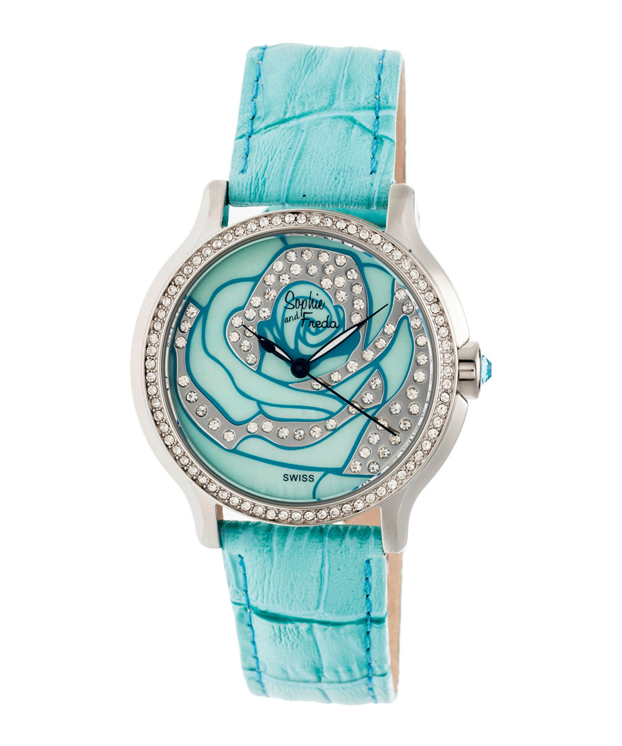 Turquoise leather moc-croc crystal watch Sale - sophie & freda