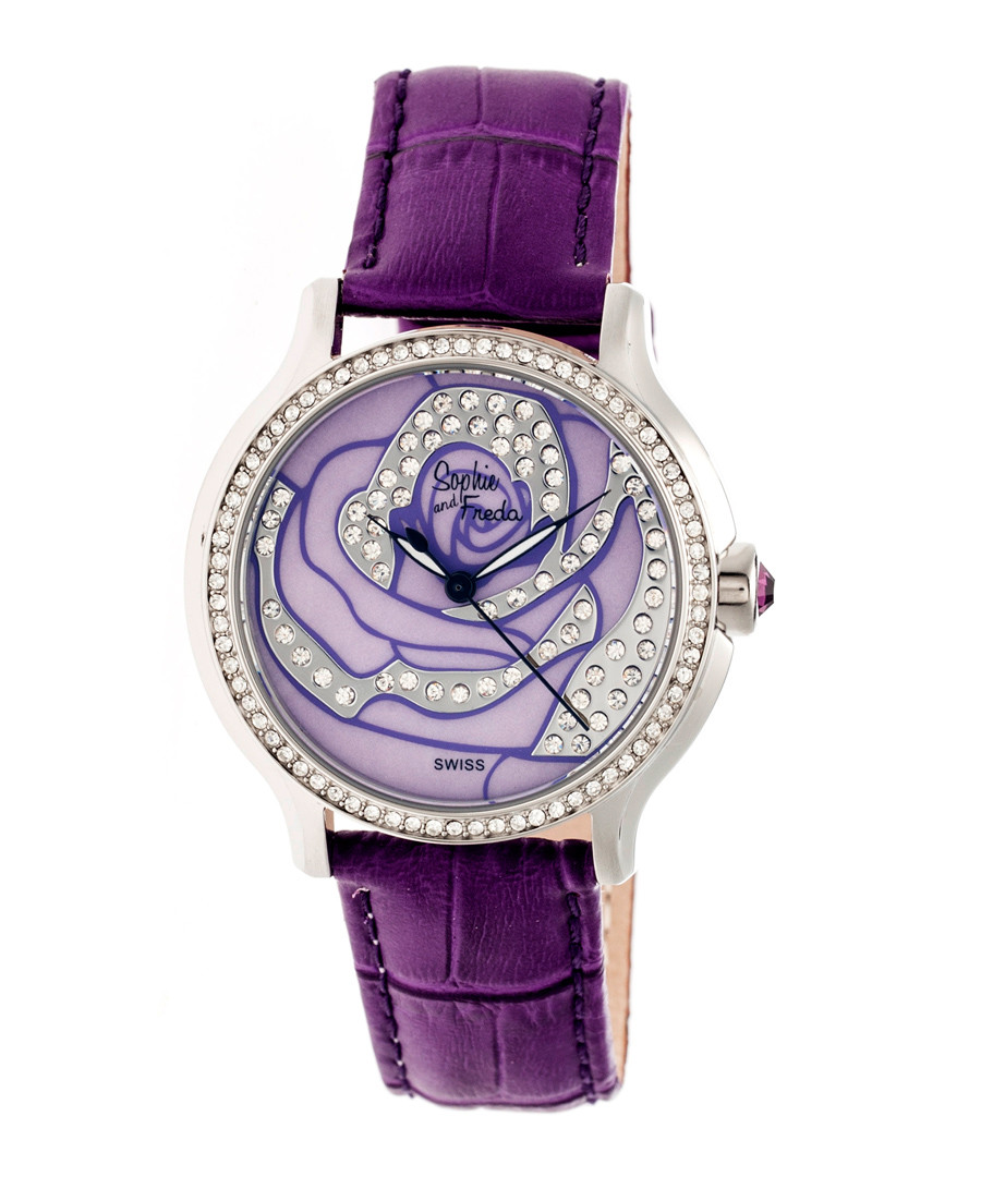 Purple leather moc-croc crystal watch Sale - sophie & freda