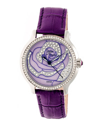 Purple leather moc-croc crystal watch