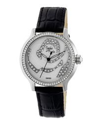 Black leather moc-croc crystal watch