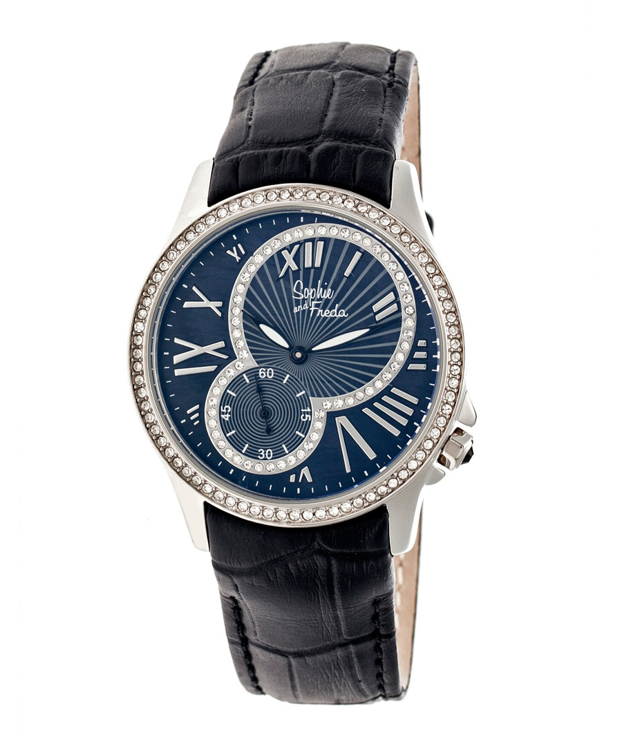 Navy leather moc-croc crystal watch Sale - sophie & freda