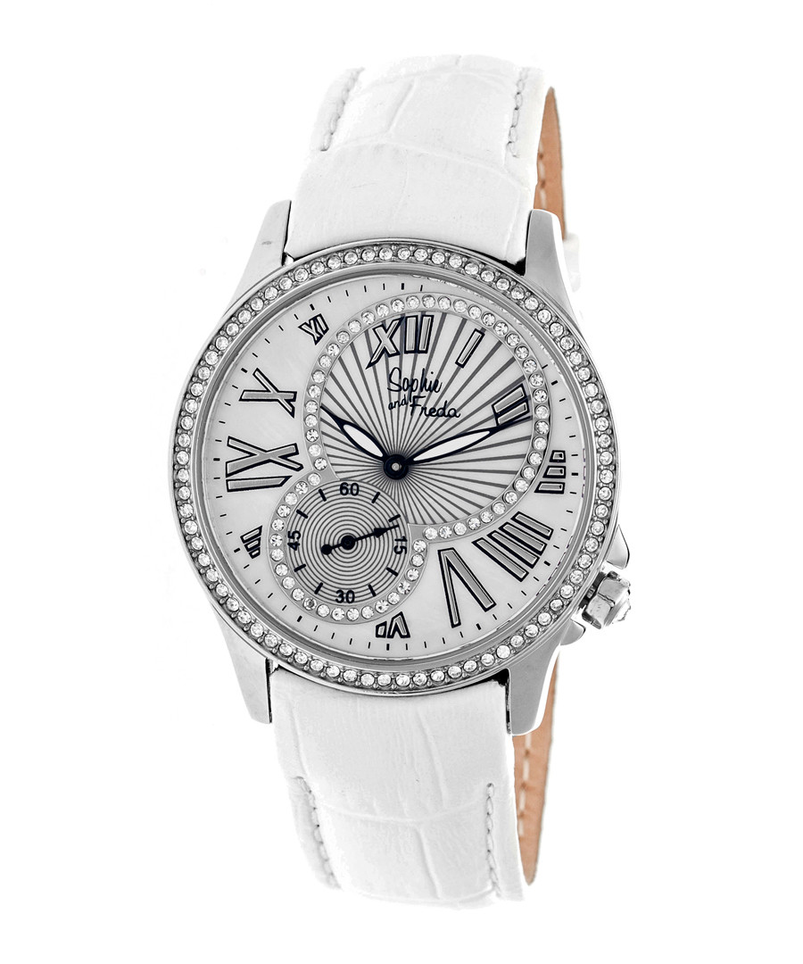 White leather moc-croc crystal watch Sale - sophie & freda