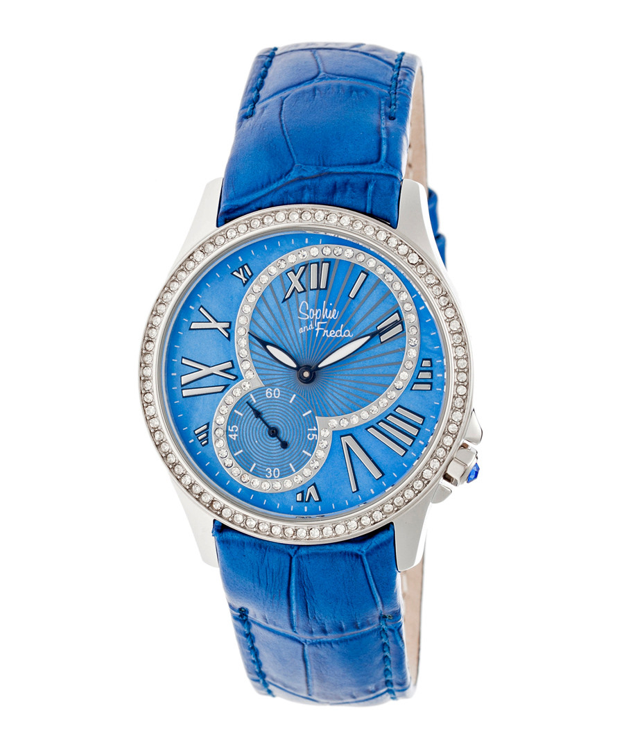 Blue leather moc-croc crystal watch Sale - sophie & freda
