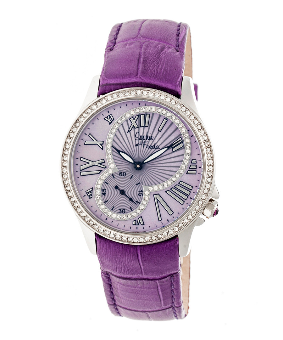 Purple leather moc-croc crystal watch Sale - sophie & freda