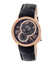 Black & rose gold-tone crystal watch