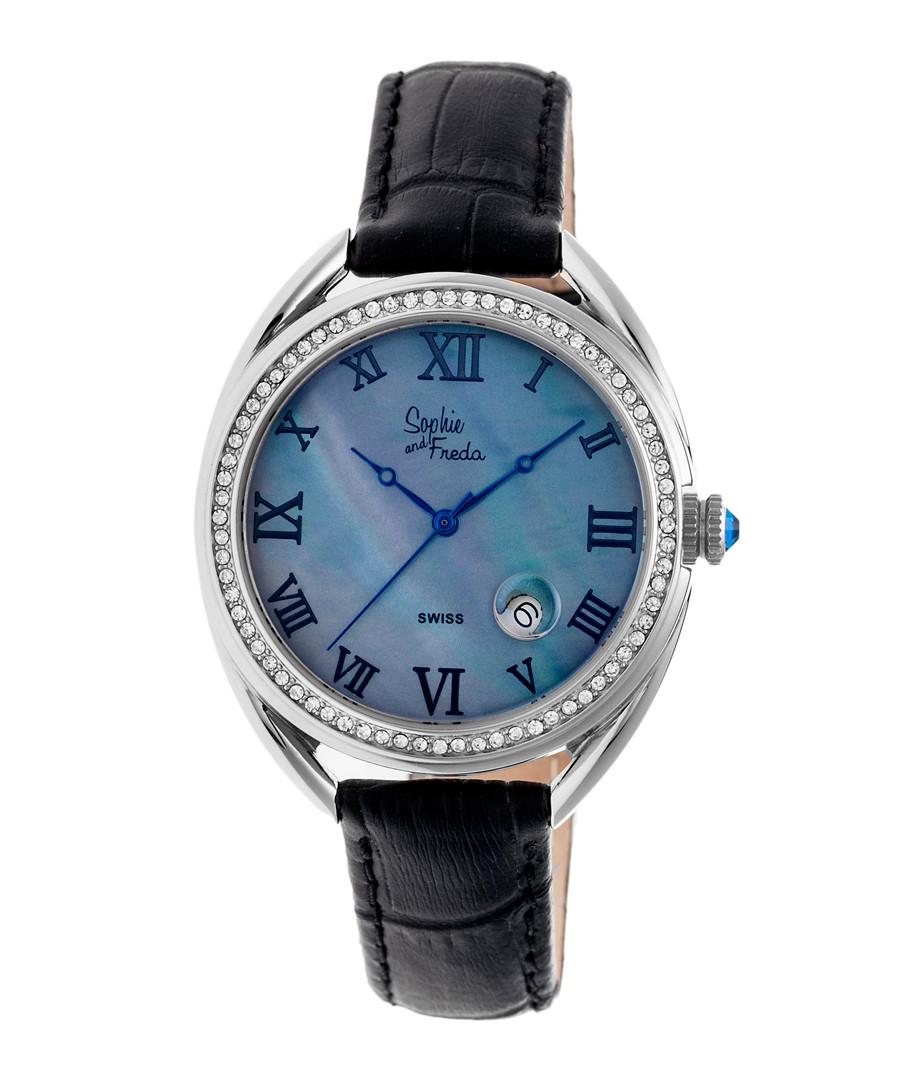 Black leather moc-croc crystal watch Sale - sophie & freda