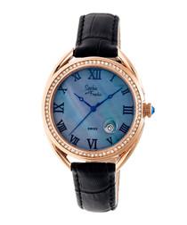 Rose gold-tone moc-croc crystal watch