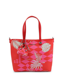 Red & pink print shoulder bag