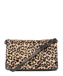 Leopard print leather cross body bag