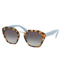 Women's Havana & light blue sunglasses