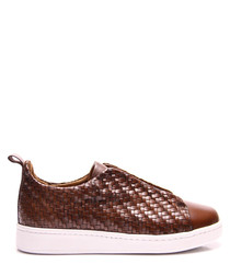 Brown leather woven sneakers