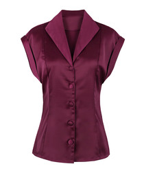 Wine red short sleeve button-up blouse