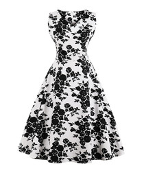 White & black cotton floral full dress