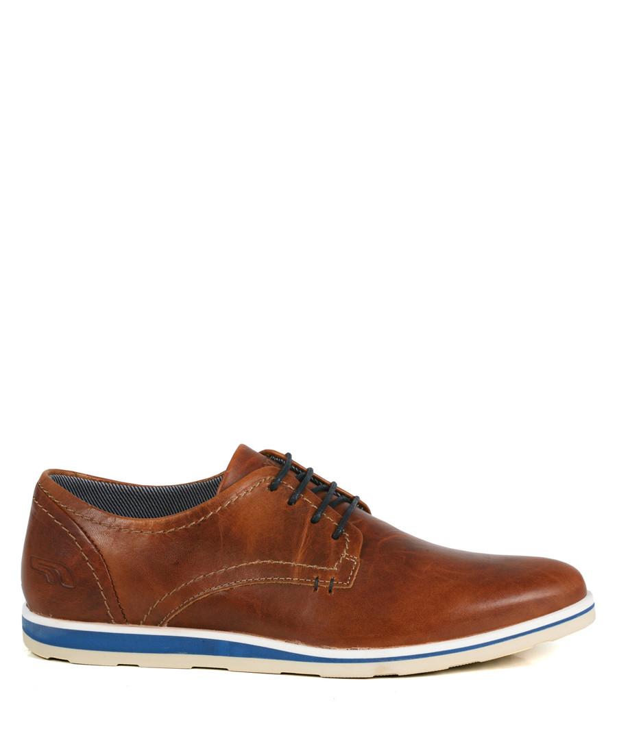 Men's red brown leather lace-up Derbys Sale - WINK