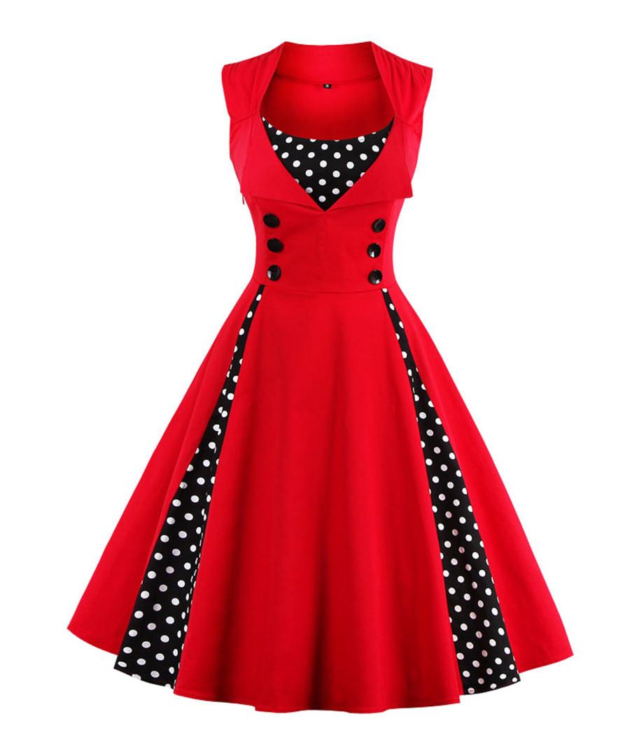 Red & black cotton print full dress Sale - Mixinni