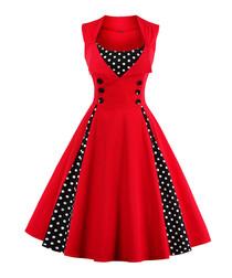 Red & black cotton print full dress