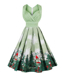 Light green cotton print full dress