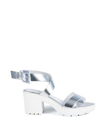 Women's silver leather strappy heels