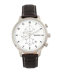 Holden black leather moc-croc watch