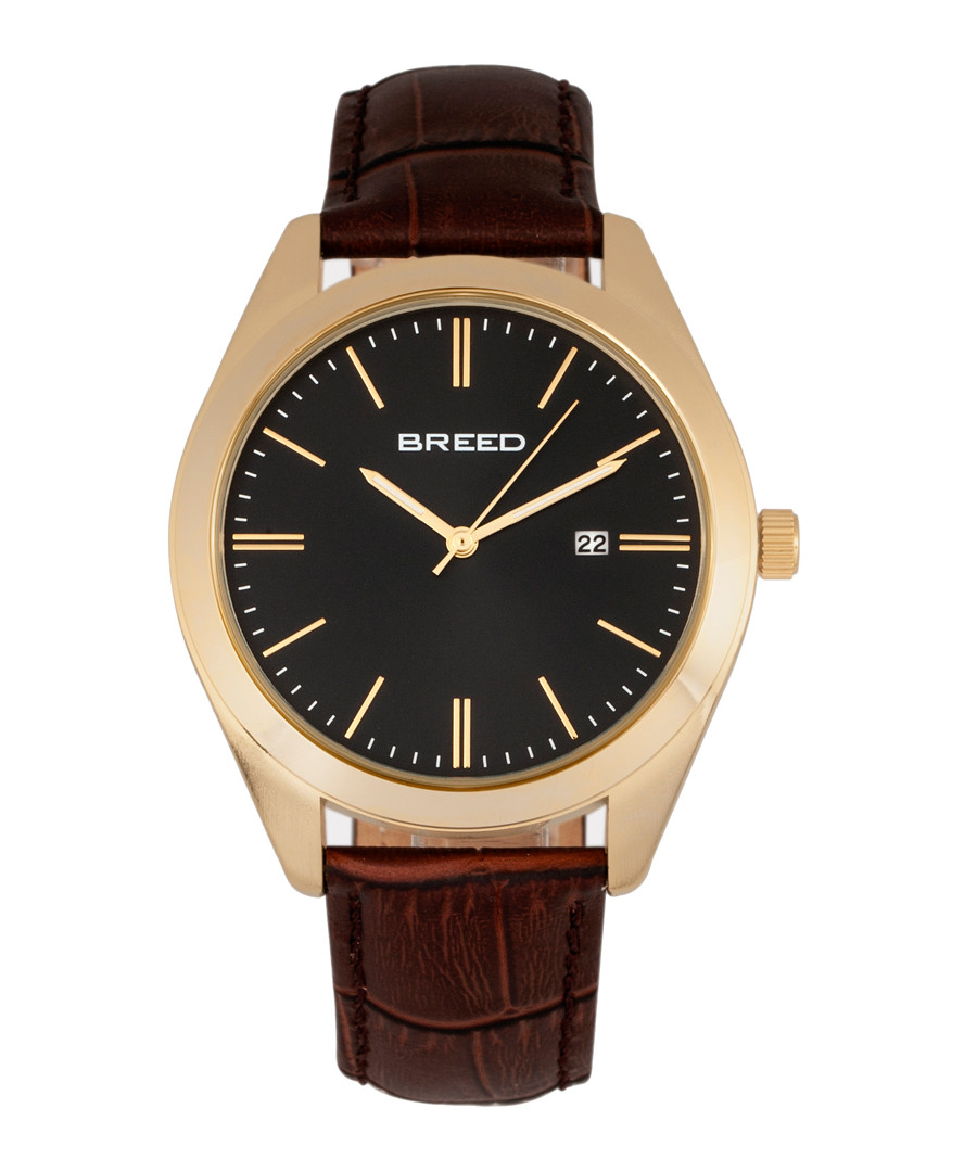 Louis brown & gold-tone leather watch Sale - breed