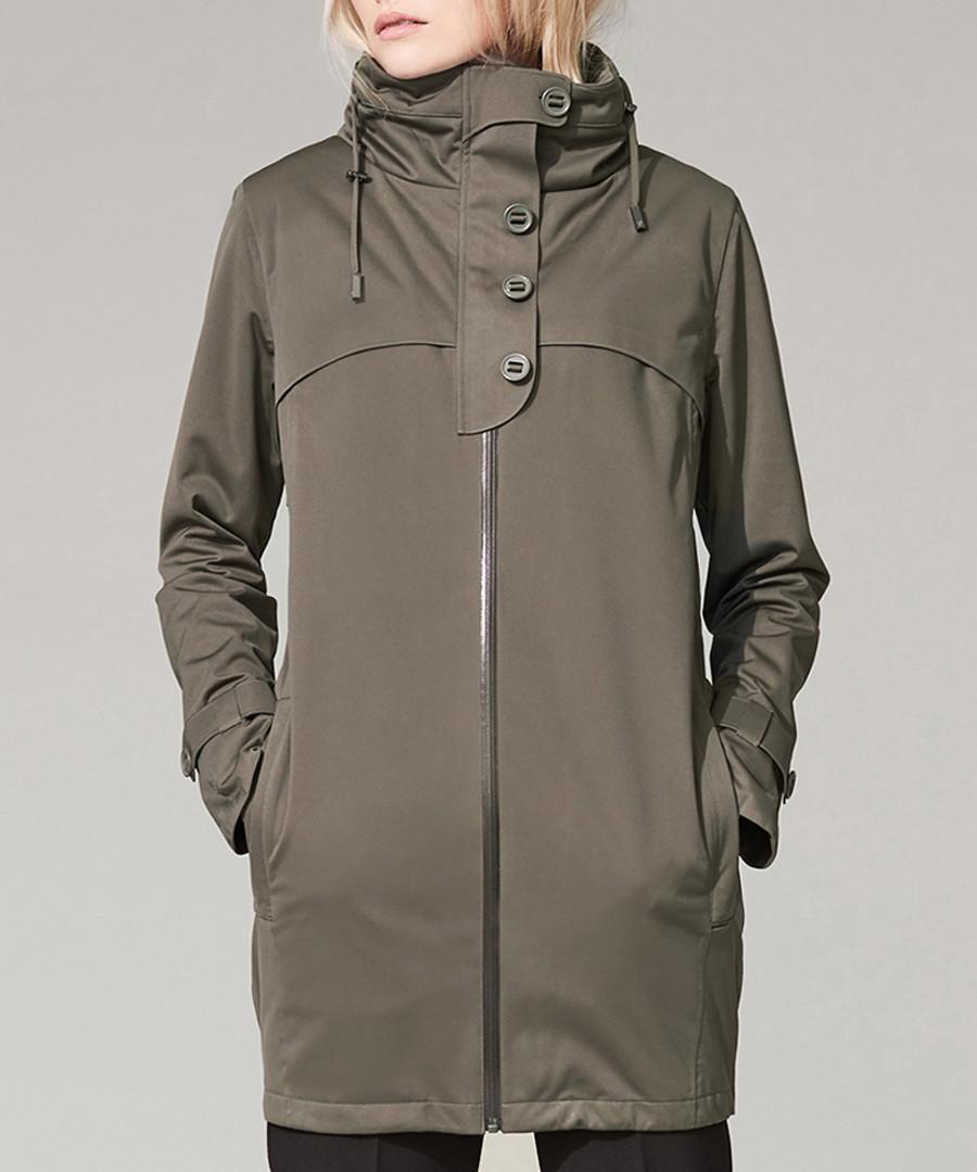 Dark olive waterproof zip-up coat Sale - protected species