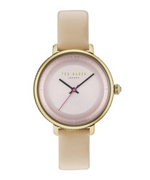 Pink & beige leather classic watch