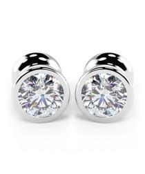 9kt white gold & diamond Basel studs