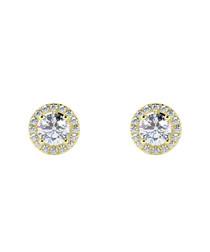 0.5ct diamond & gold halo studs
