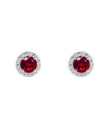 0.6ct ruby & white gold halo studs